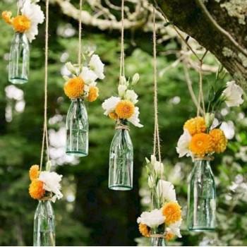 Подвесные декорации с живыми цветами